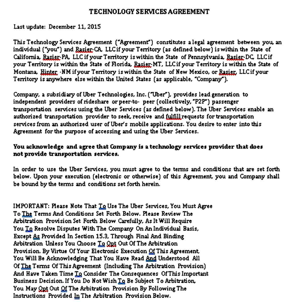 Technology Services Agreement Template