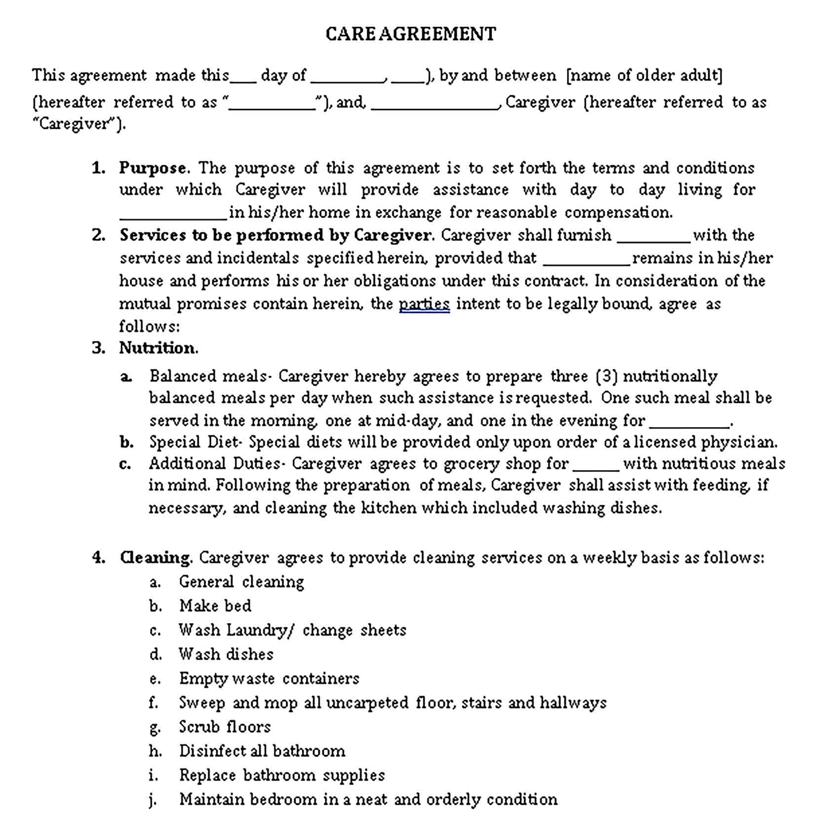 Templates 11 caregiver contract Sample