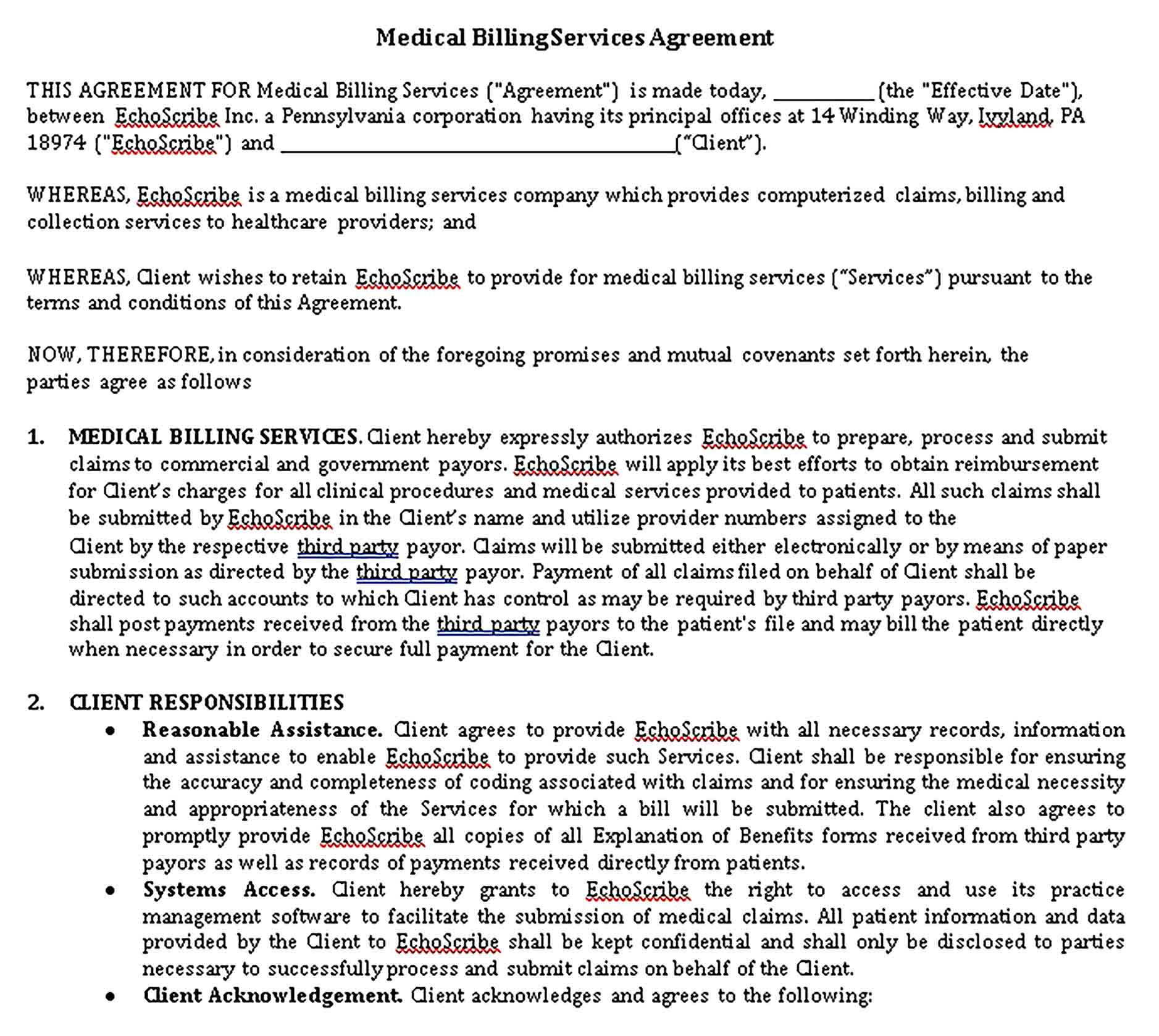 Templates 6 Medical Billing Services Agreement Sample