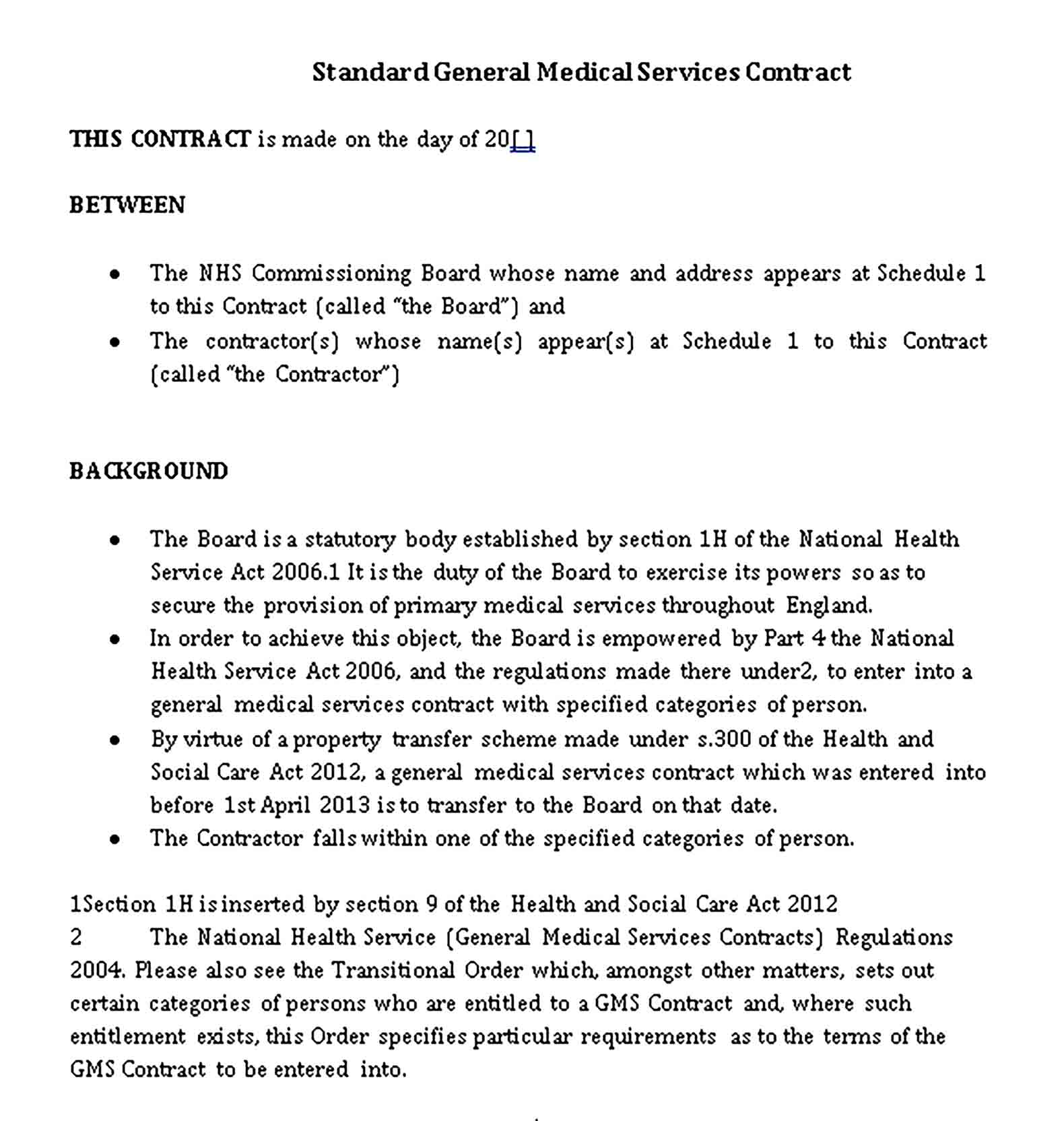Templates 7 Standard General Medical Services Model Contract Sample