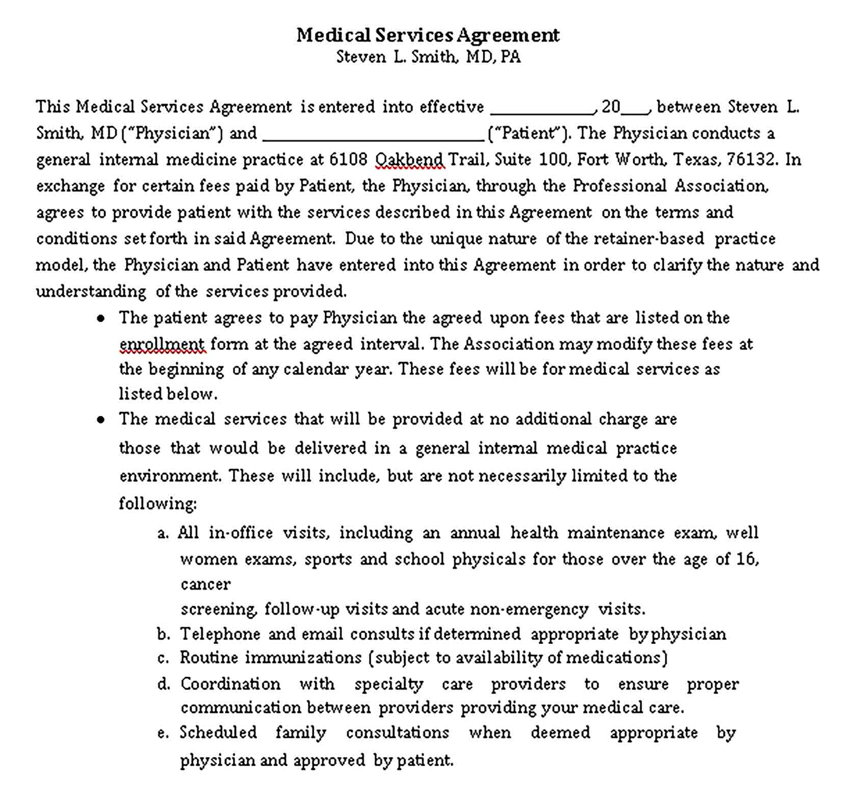 Templates 8 medicalServiceAgreement Sample
