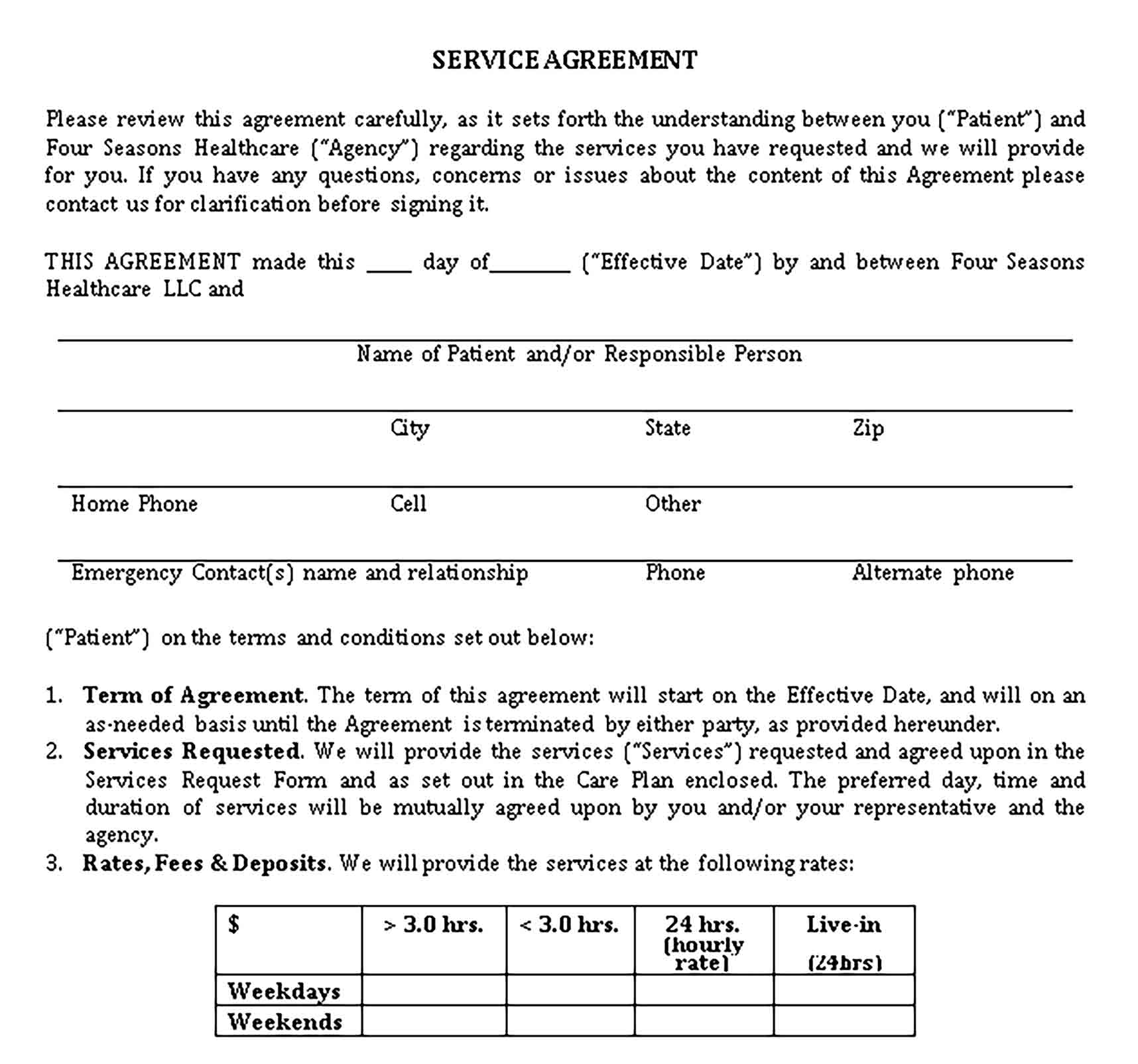 Templates 9 Service Agreement2 Sample