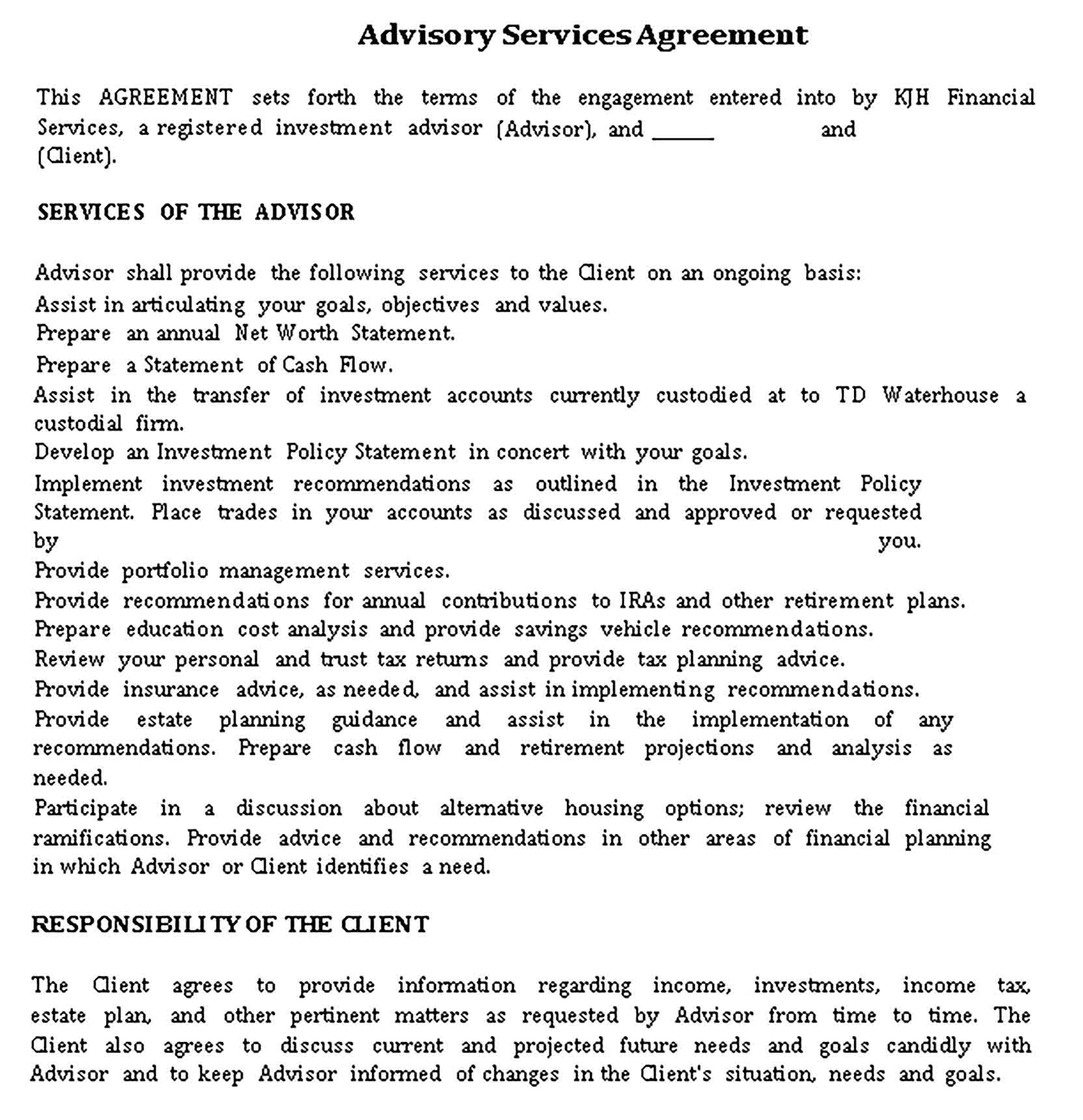 Templates Advisory Financial Service Agreement Sample