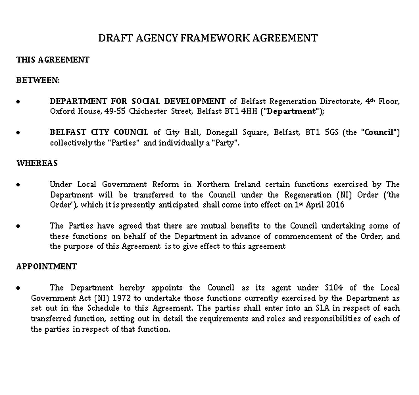 Templates Agency Agreement Sample 1