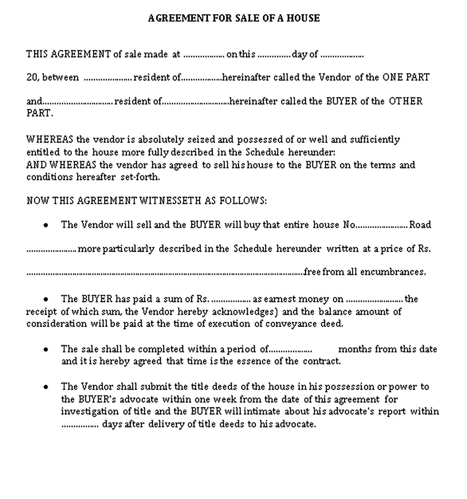 Templates Agreement for Sale of a House Sample