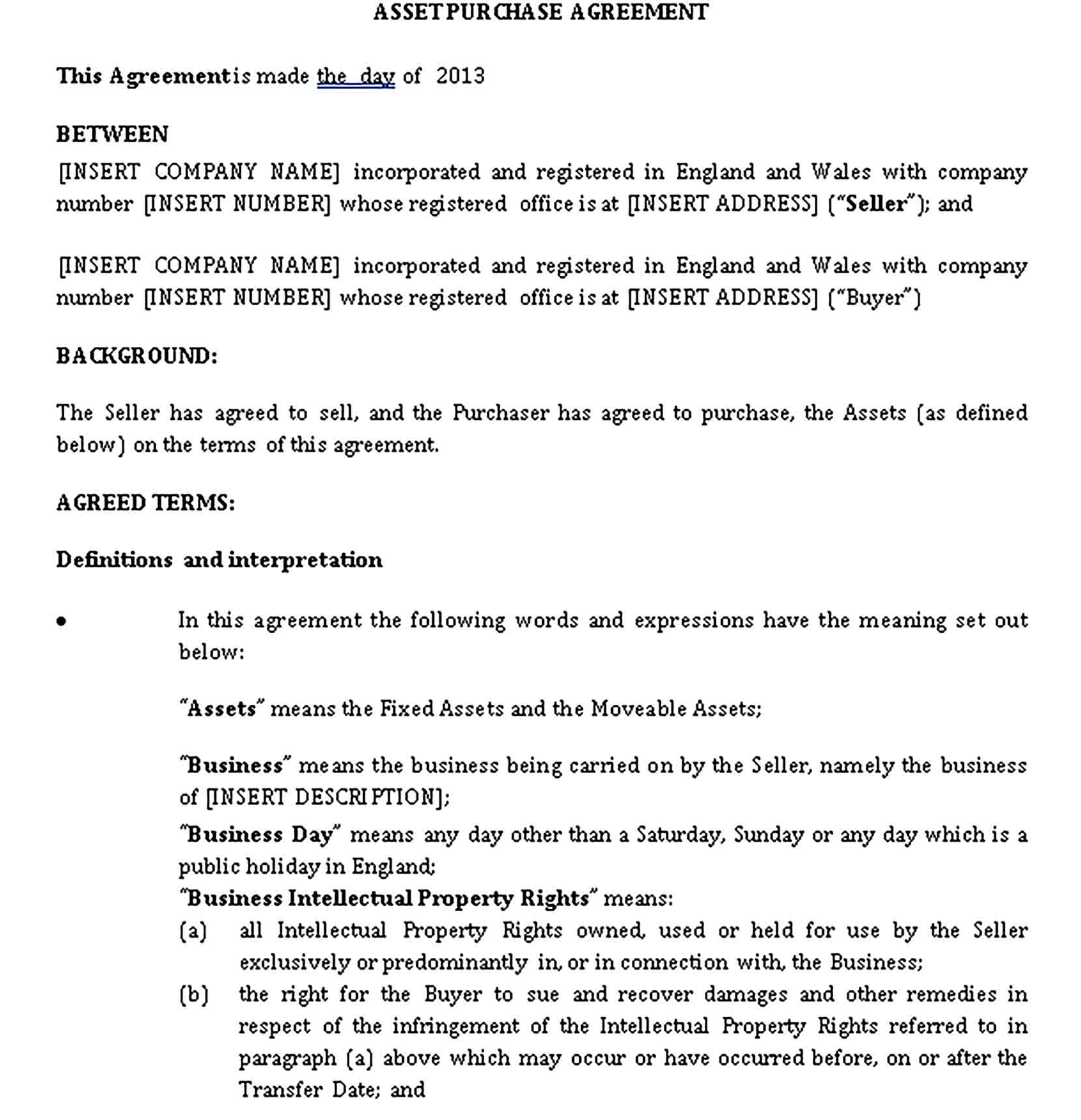 Templates Asset Purchase Agreement Sample