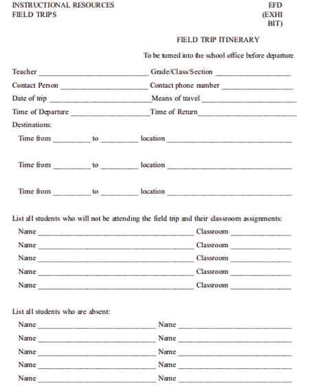 Templates Blank Field Trip Itinerary Example