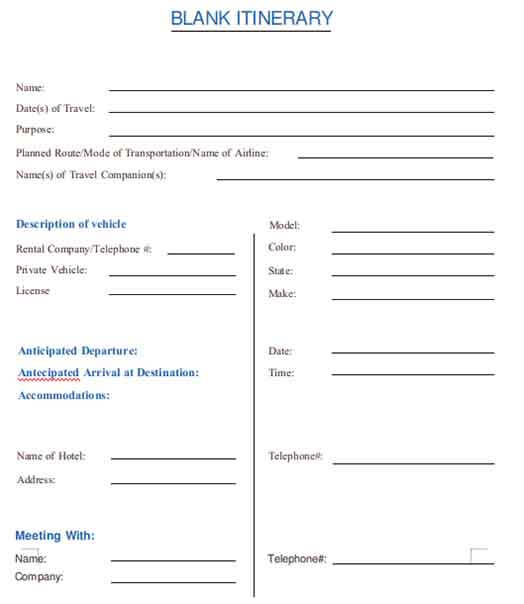 Templates Blank Itinerary A4 Example - Family Reunion Itineraries