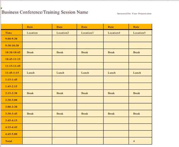 Templates Business Event Schedule Itinerary Example
