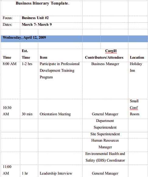 Templates Business Itinerary Example 002