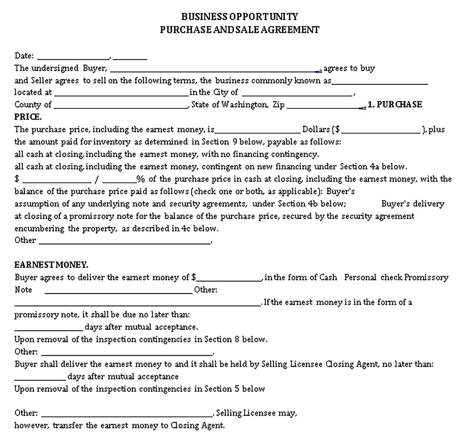 Templates Business Opportunity Purchase Sale Agreement Sample