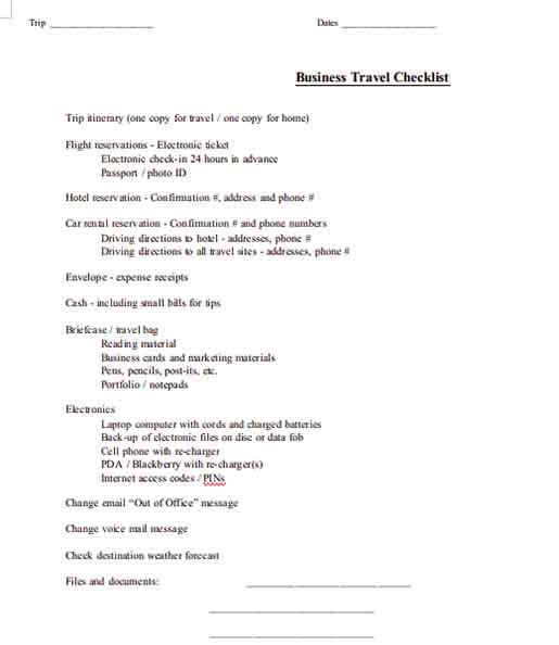 Templates Business Travel Checklist Example