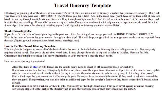 Templates Business Travel Itinerary 1 Example 1