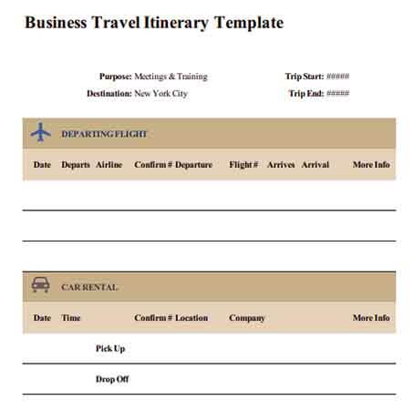 Templates Business Travel Itinerary 1 Example