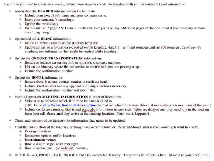 Templates Business Travel Itinerary 2 Example 1