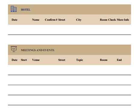 Templates Business Travel Itinerary 2 Example