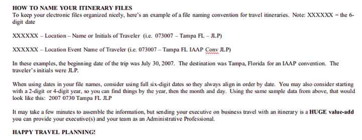 Templates Business Travel Itinerary 3 Example
