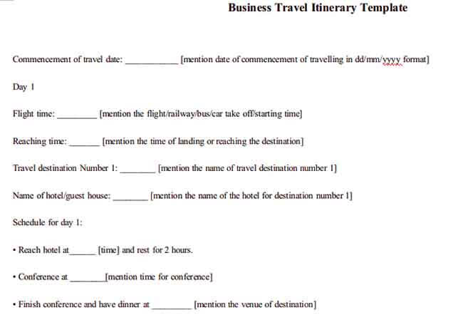 Templates Business Travel Itinerary Example 001