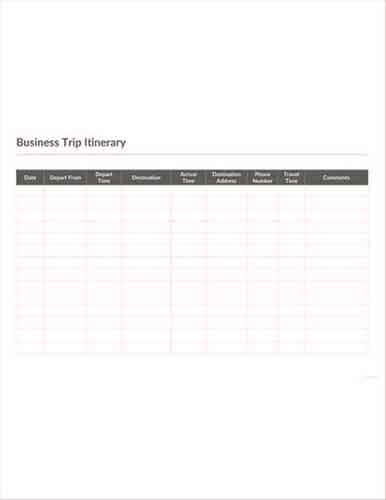 Templates Business Trip Itinerary Example