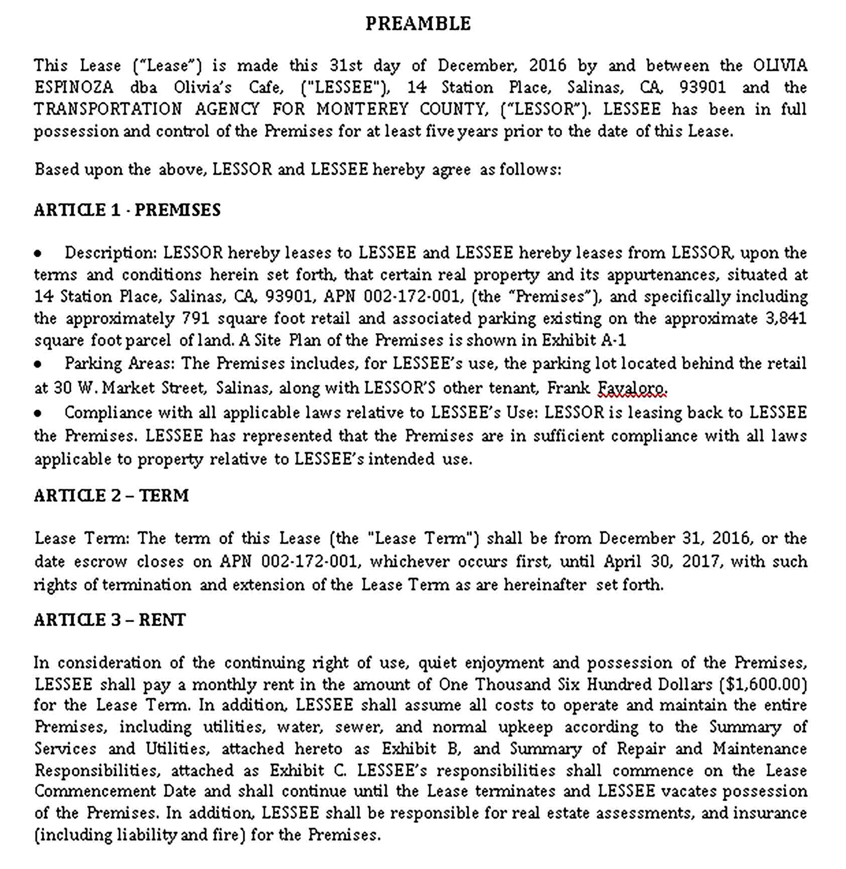 Templates Cafe Lease Agreement Sample 001