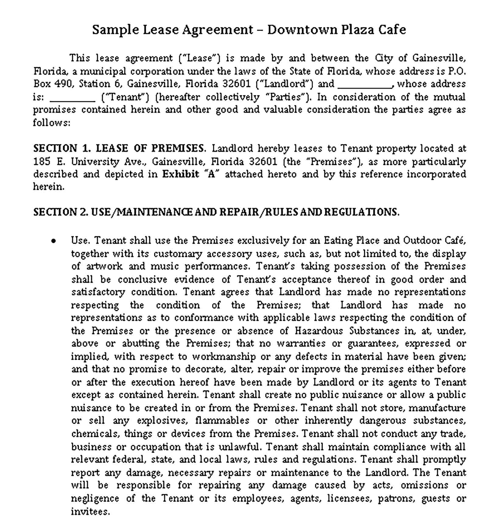 Templates Cafe Lease Agreement Sample 002
