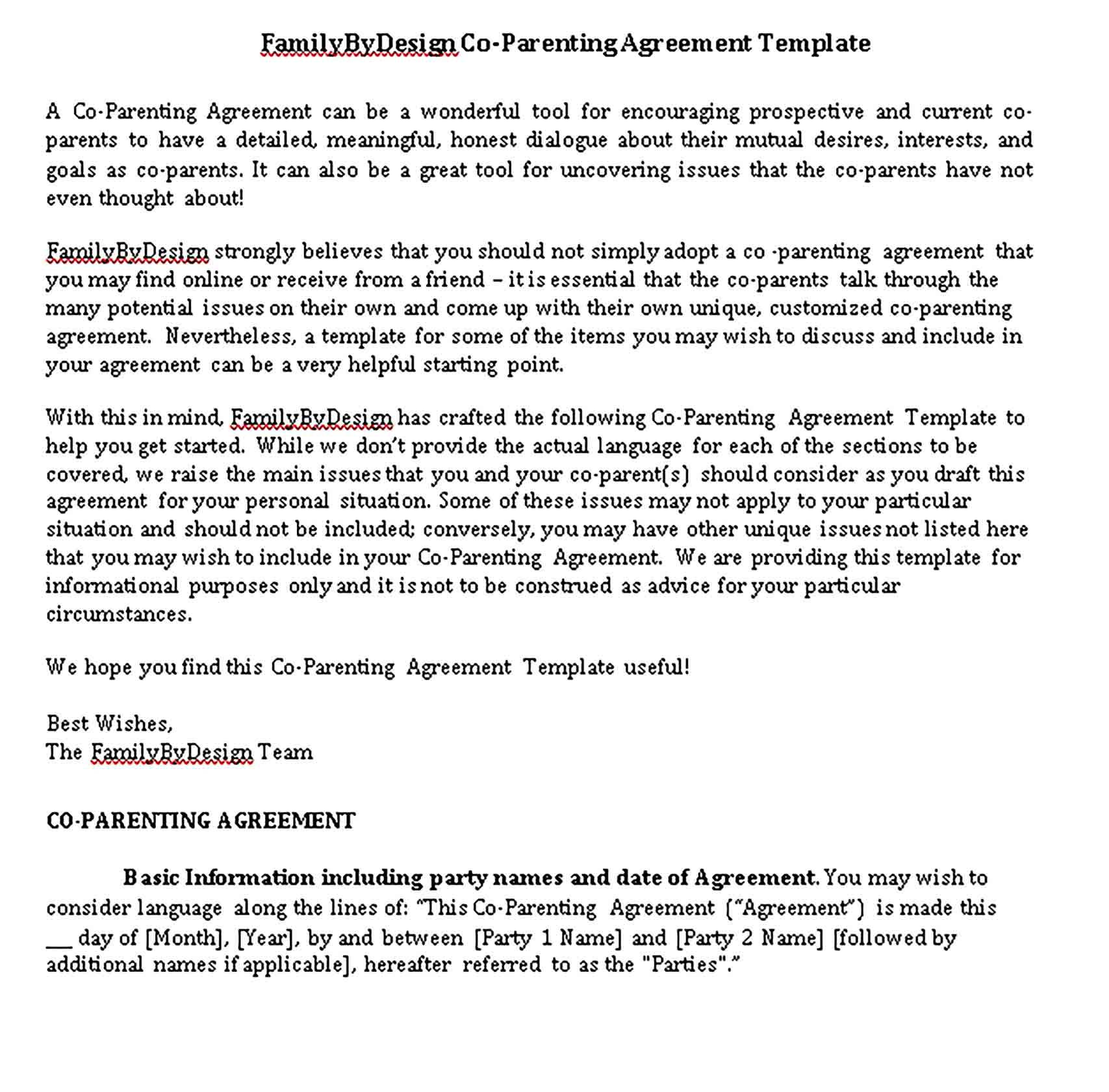 Templates Co Parenting Agreement Sample
