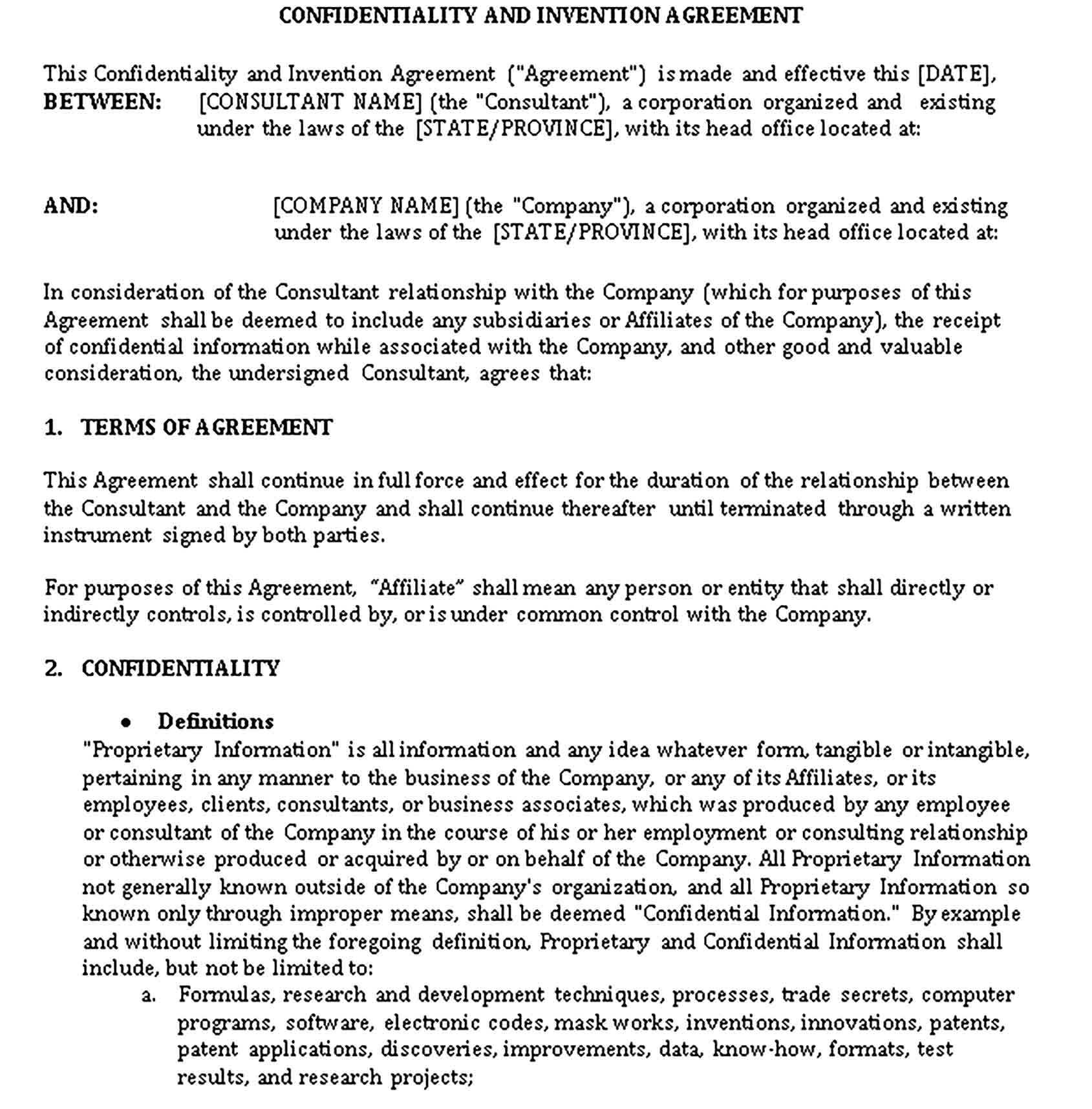 Templates Confidentiality Agreement Sample