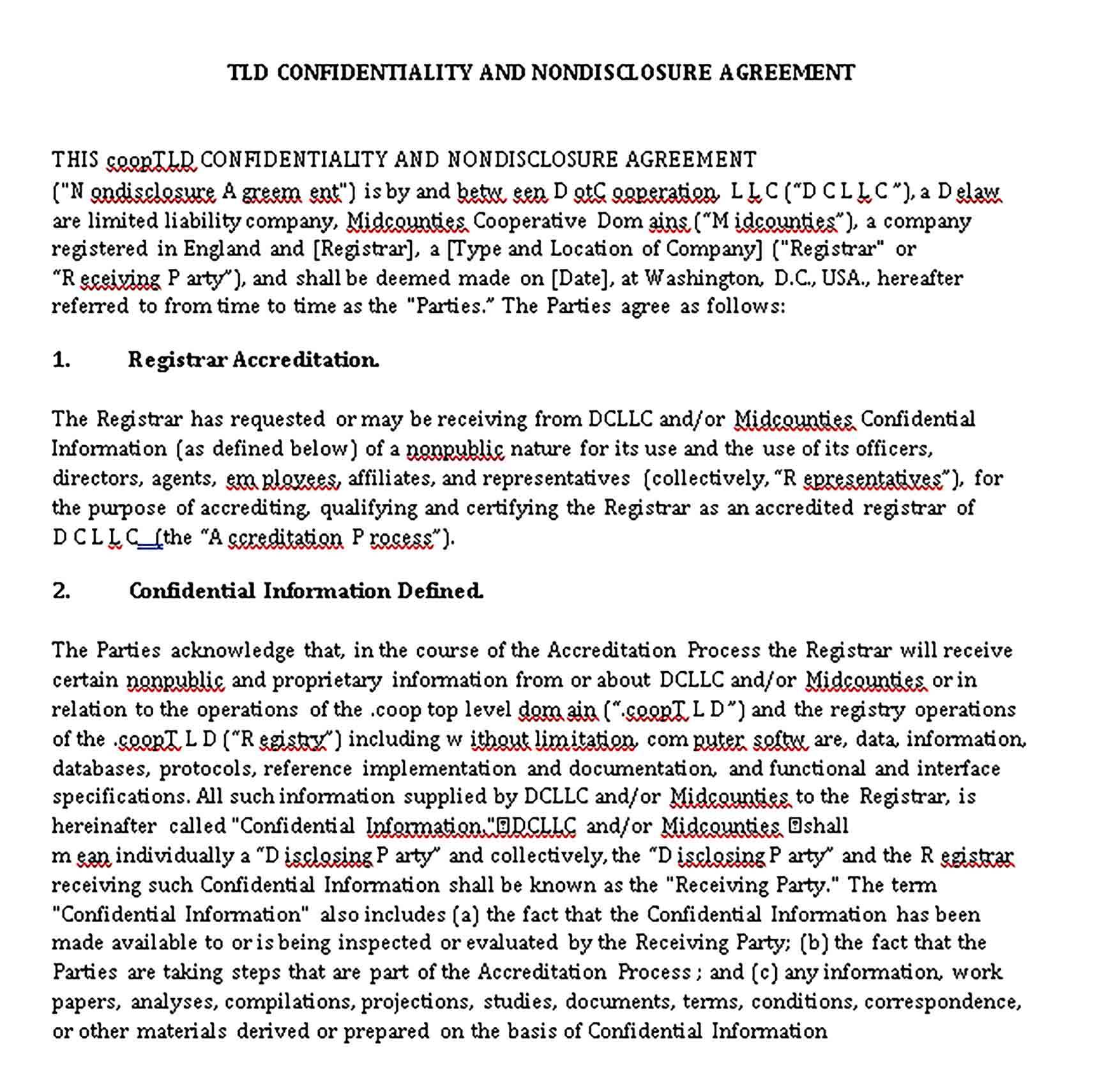 Templates Confidentiality Non Disclosure Agreement Sample