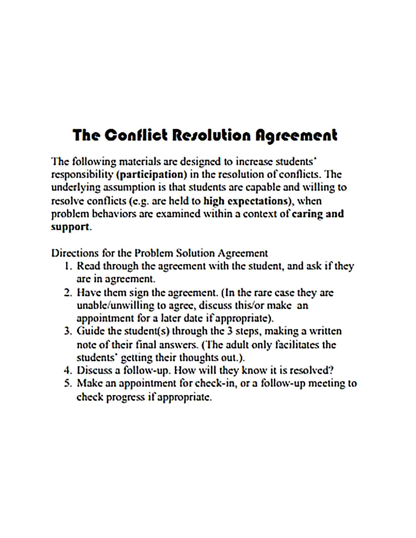 Templates Conflict Resolution Agreement Sample 001