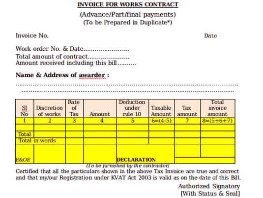 Templates Contract Work Example