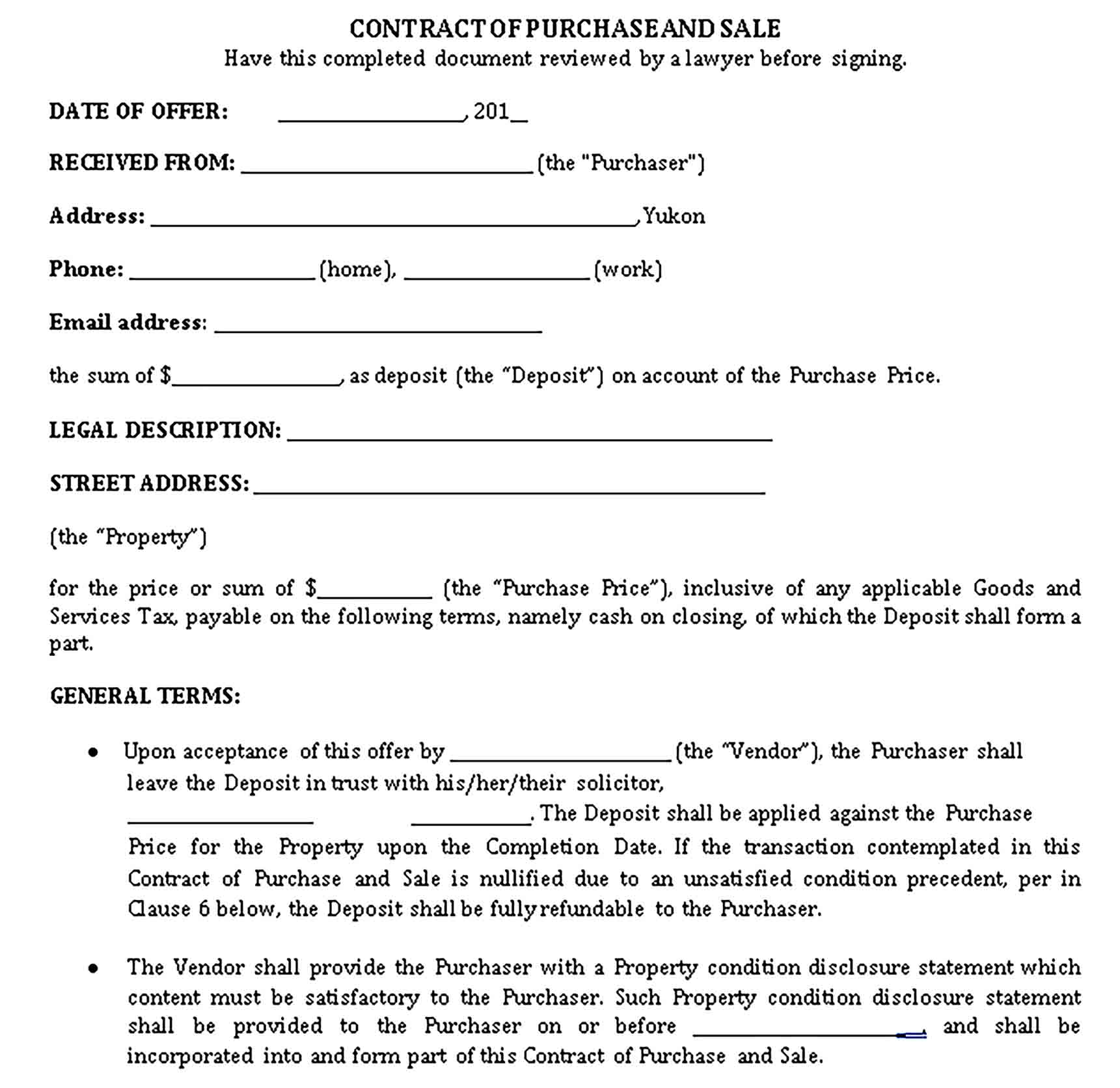 Templates Contract of Purchase and Sale for Home Sample