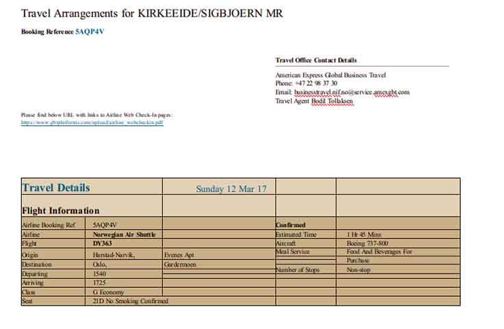Templates Corporate Travel Itinerary Example