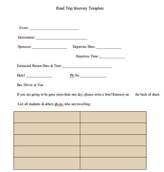 Templates Cross Country Road Trip Itinerary Example 1