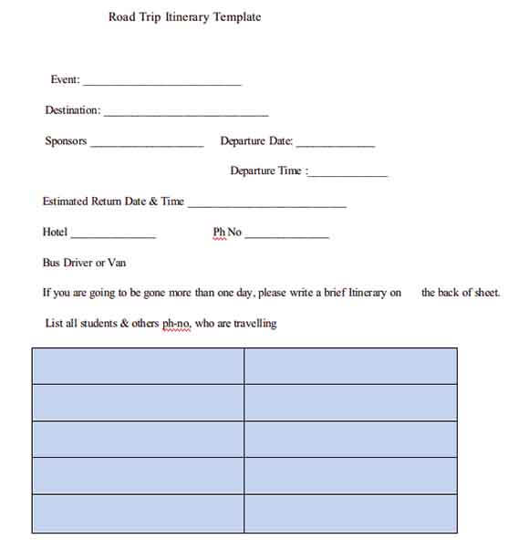 Templates Cross Country Road Trip Itinerary Example