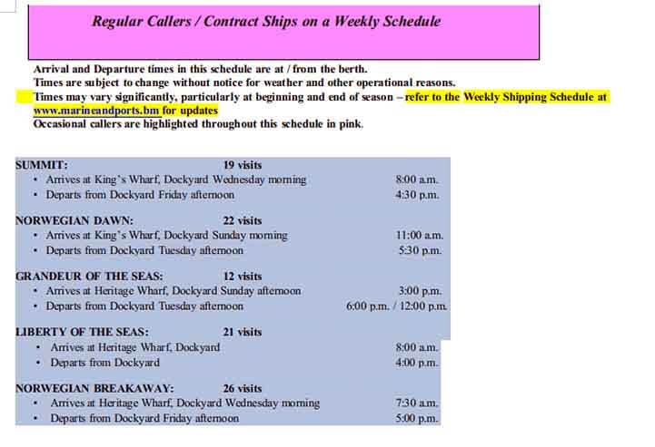 Templates Cruise Port Schedule Itinerary Example