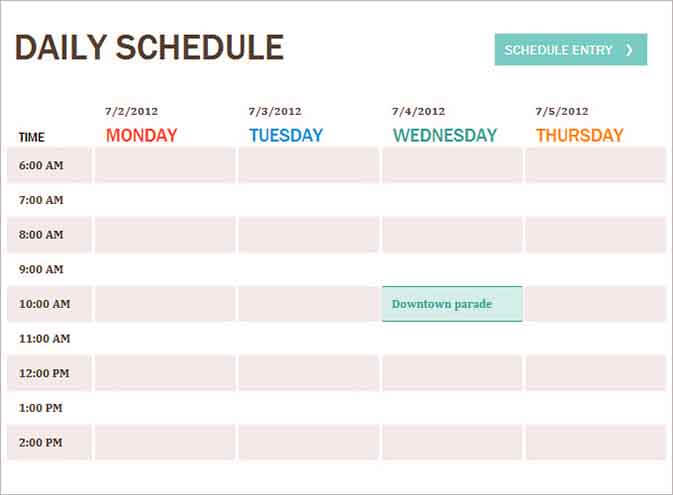 Templates Daily Planner Image Example