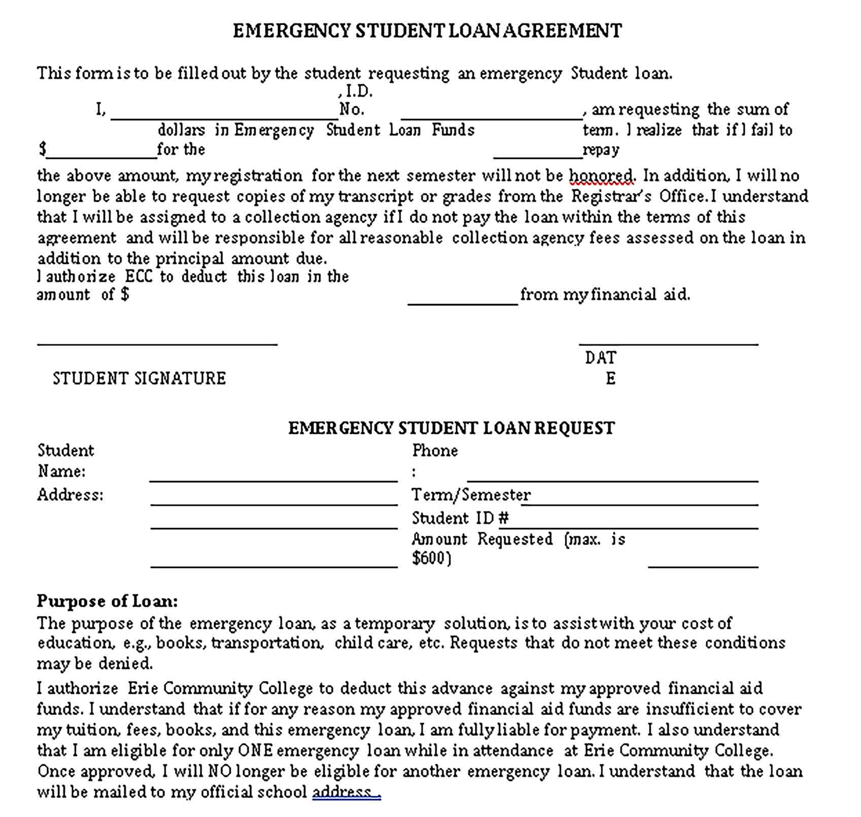 Templates Emergency Student Loan Agreement Sample