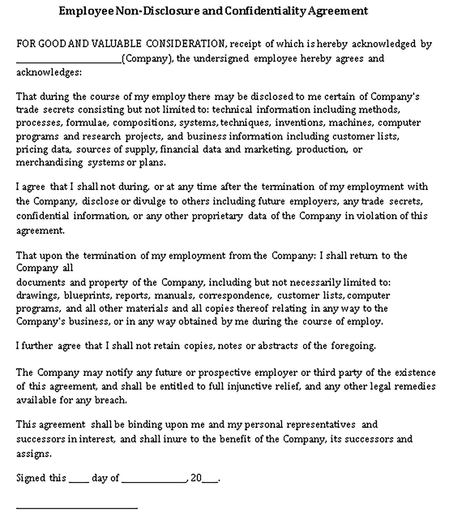 Templates Employee Non Disclosure Agreement Sample