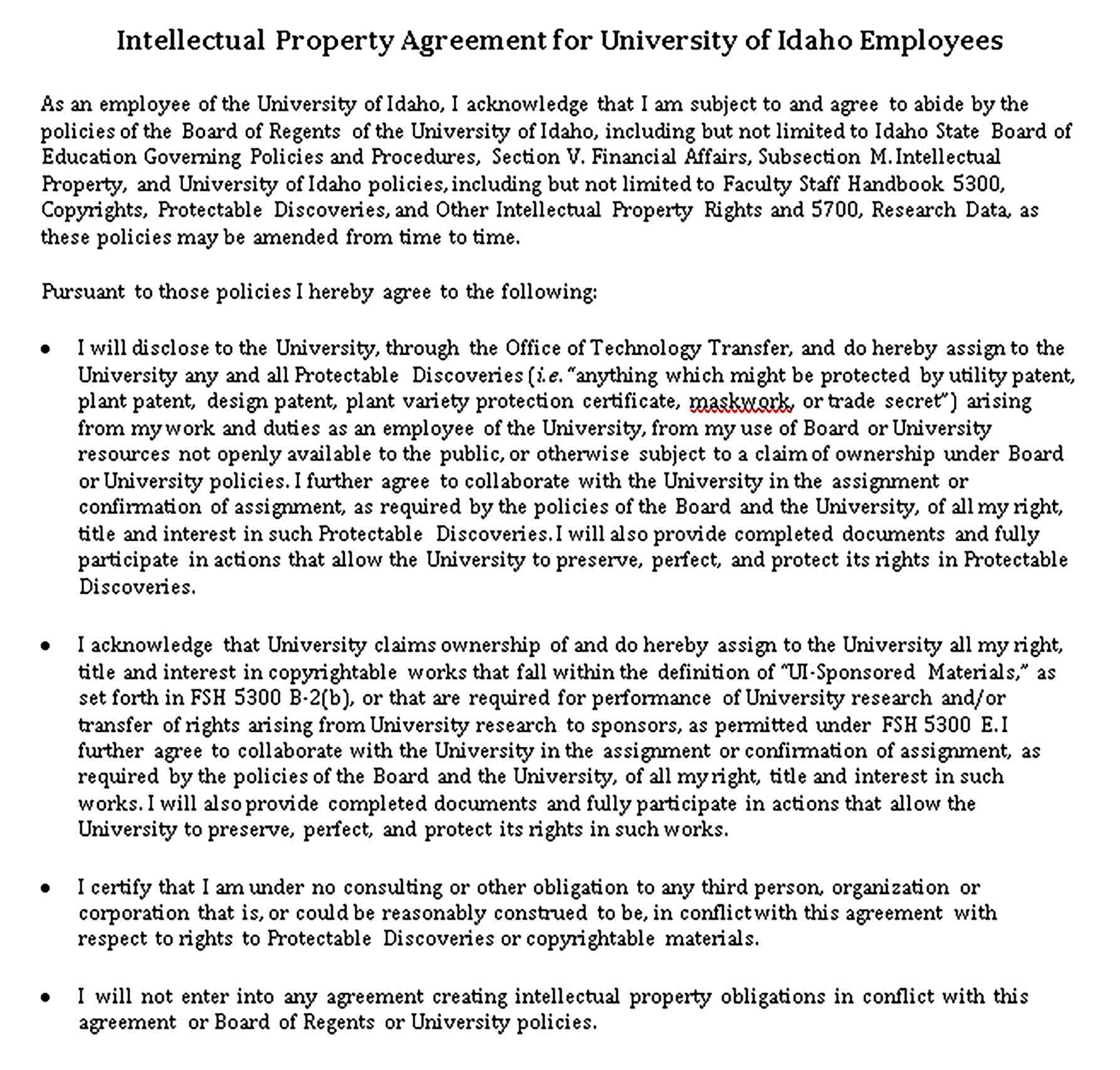 Templates Employees Intellectual Property Agreement in Sample