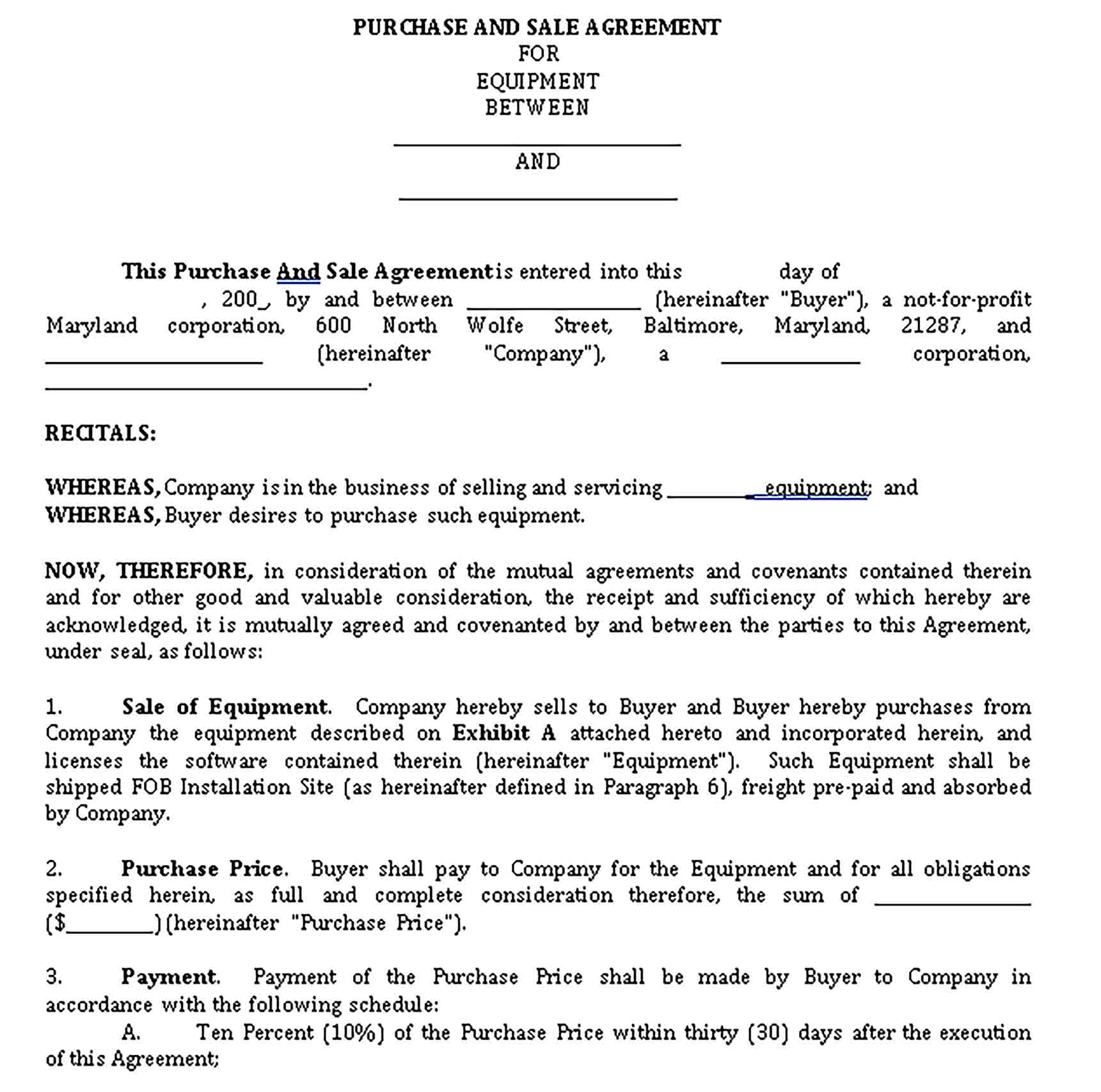 Templates Equipment Purchase Sale Agreement in Word Sample