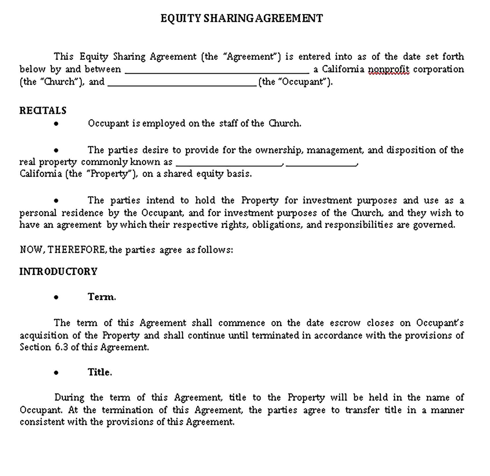 Templates Equity Sharing Agreement Sample