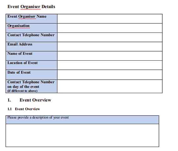 Templates Event Management Example 1