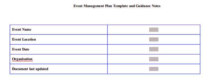Templates Event Management Plan and Guidance Notes4 Example