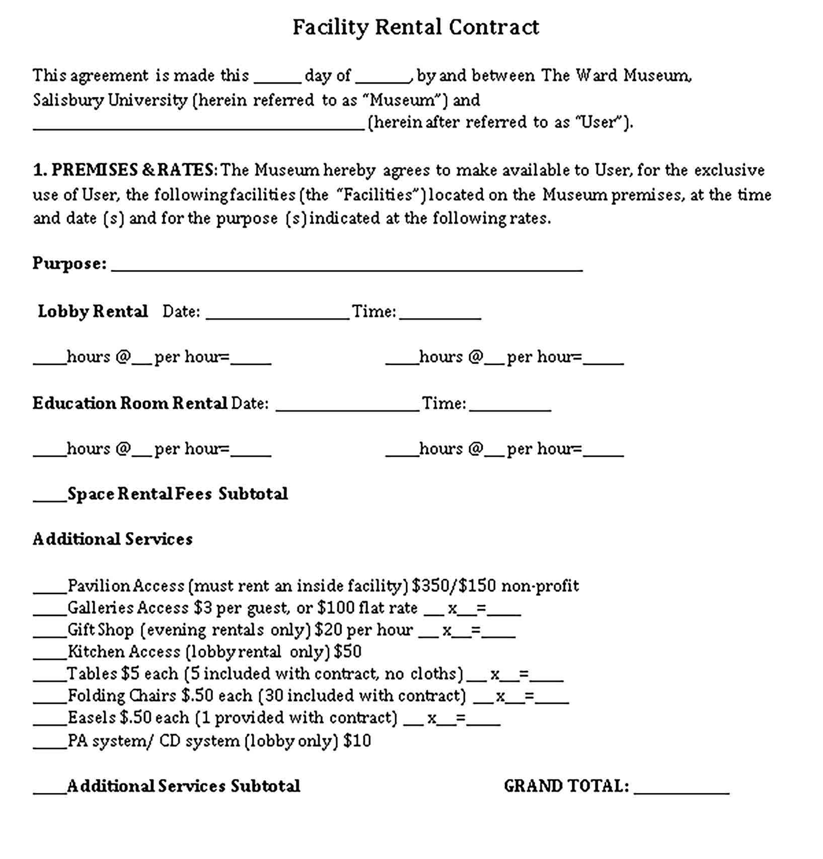 Templates Facility Rental Contract Sample