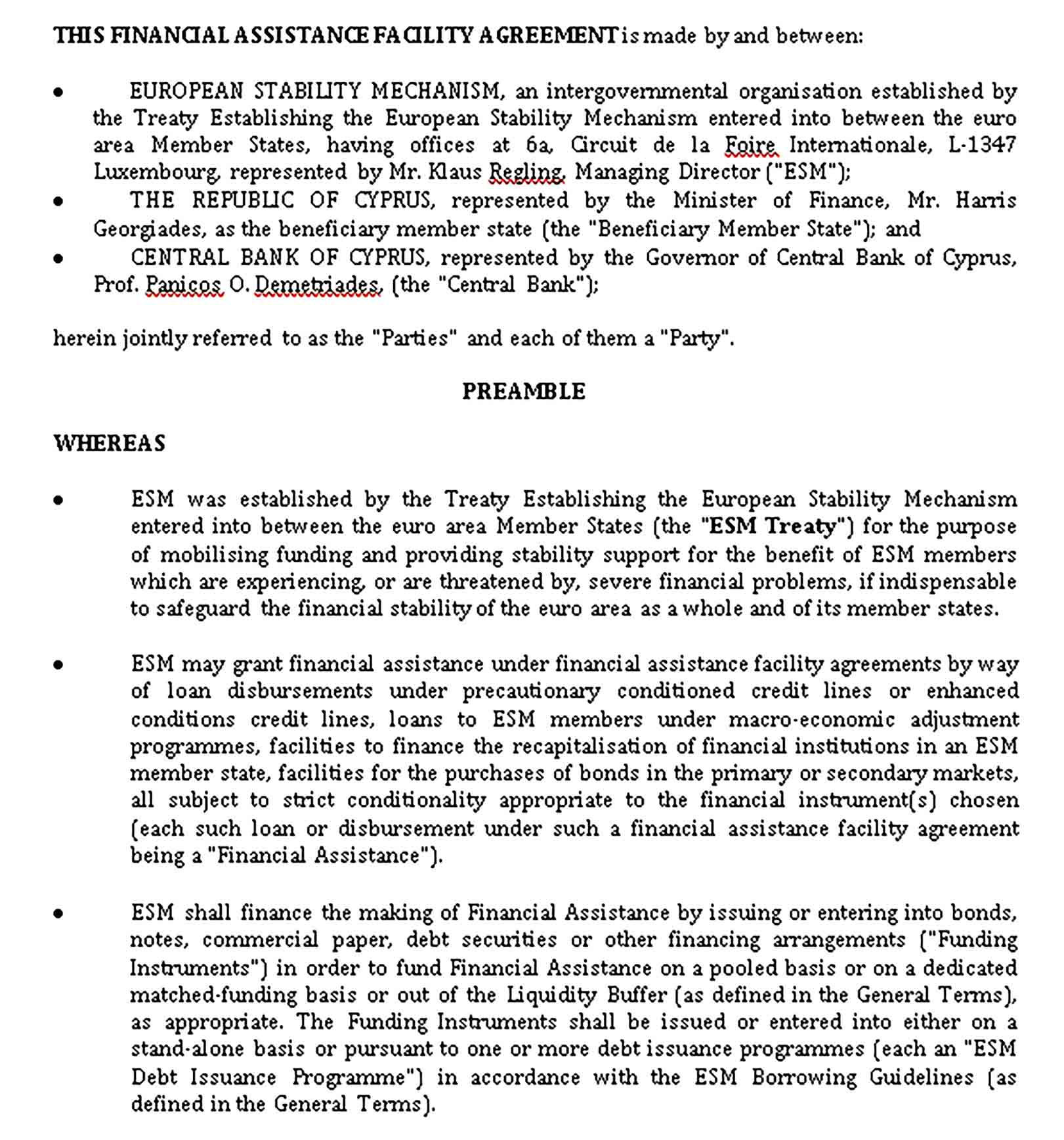 Templates Financial Assistance Facility Agreement Sample