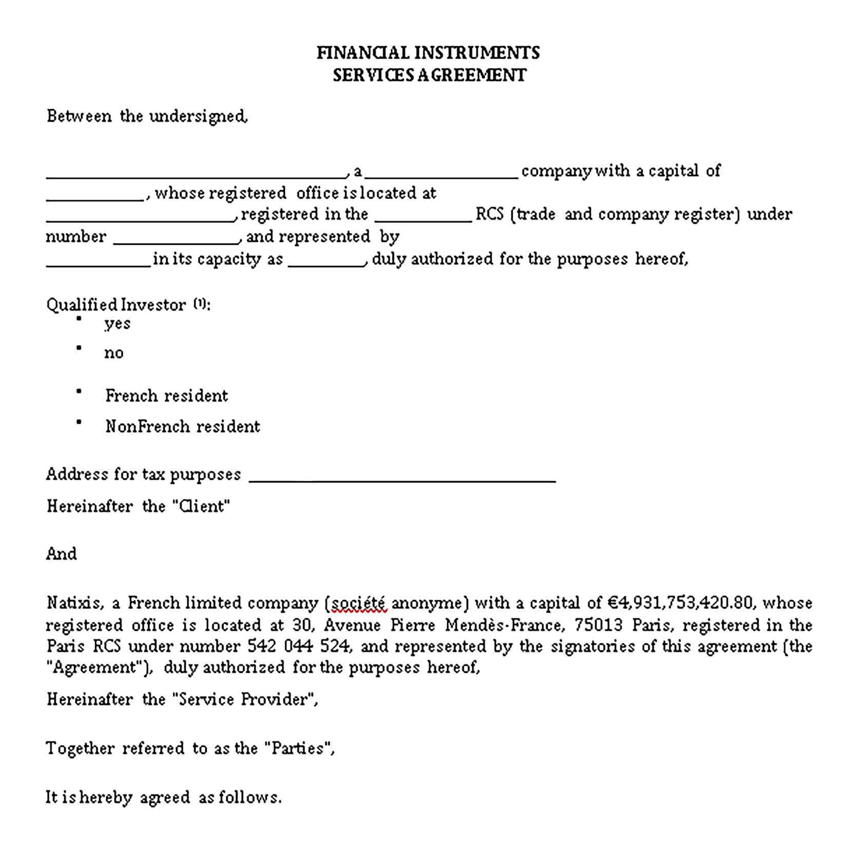 Templates Financial Instruments Services Agreement Sample