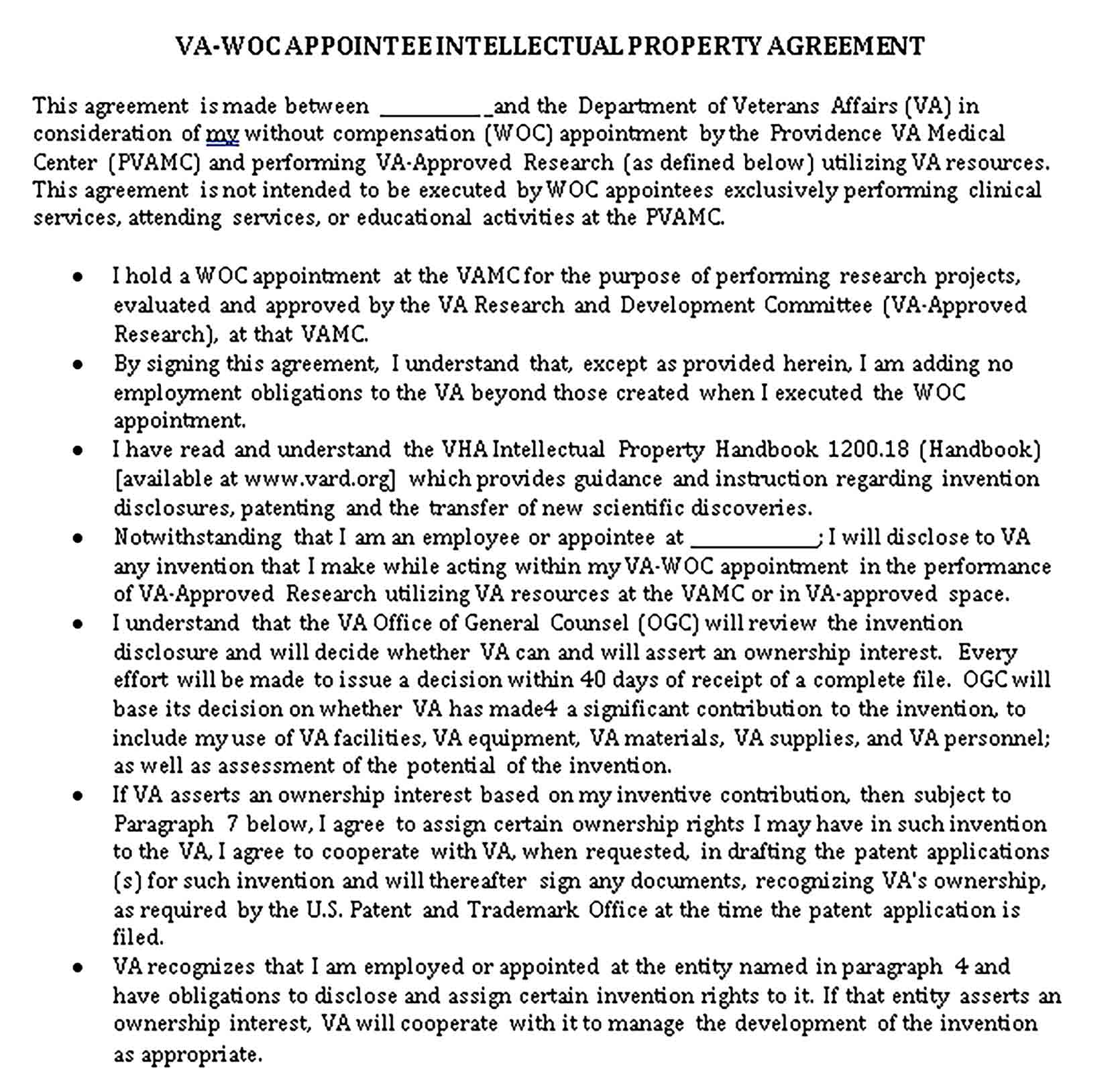 Templates Formal Intellectual Property Agreement Sample