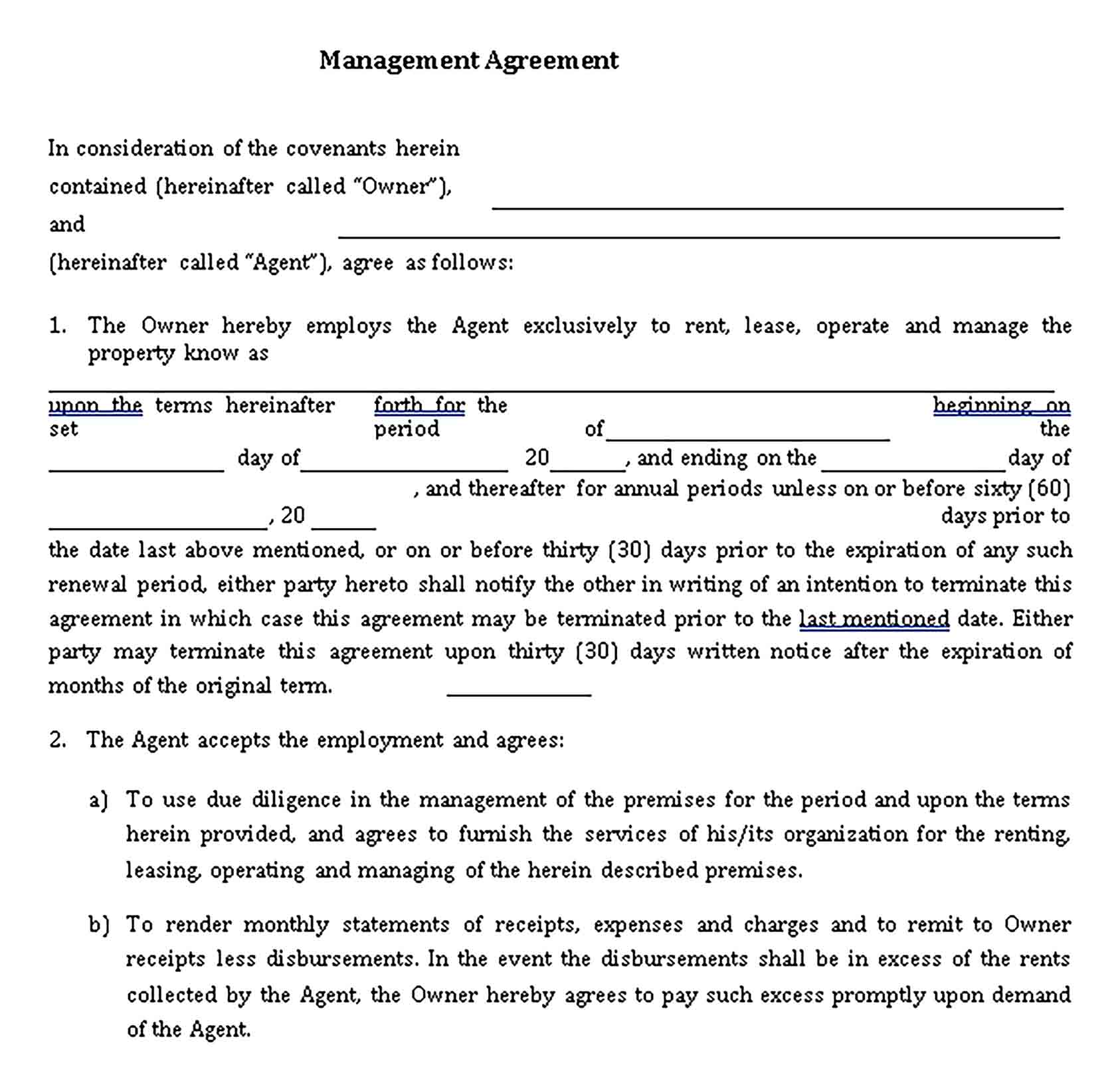 Templates Formal Real Estate Management Agreement Sample