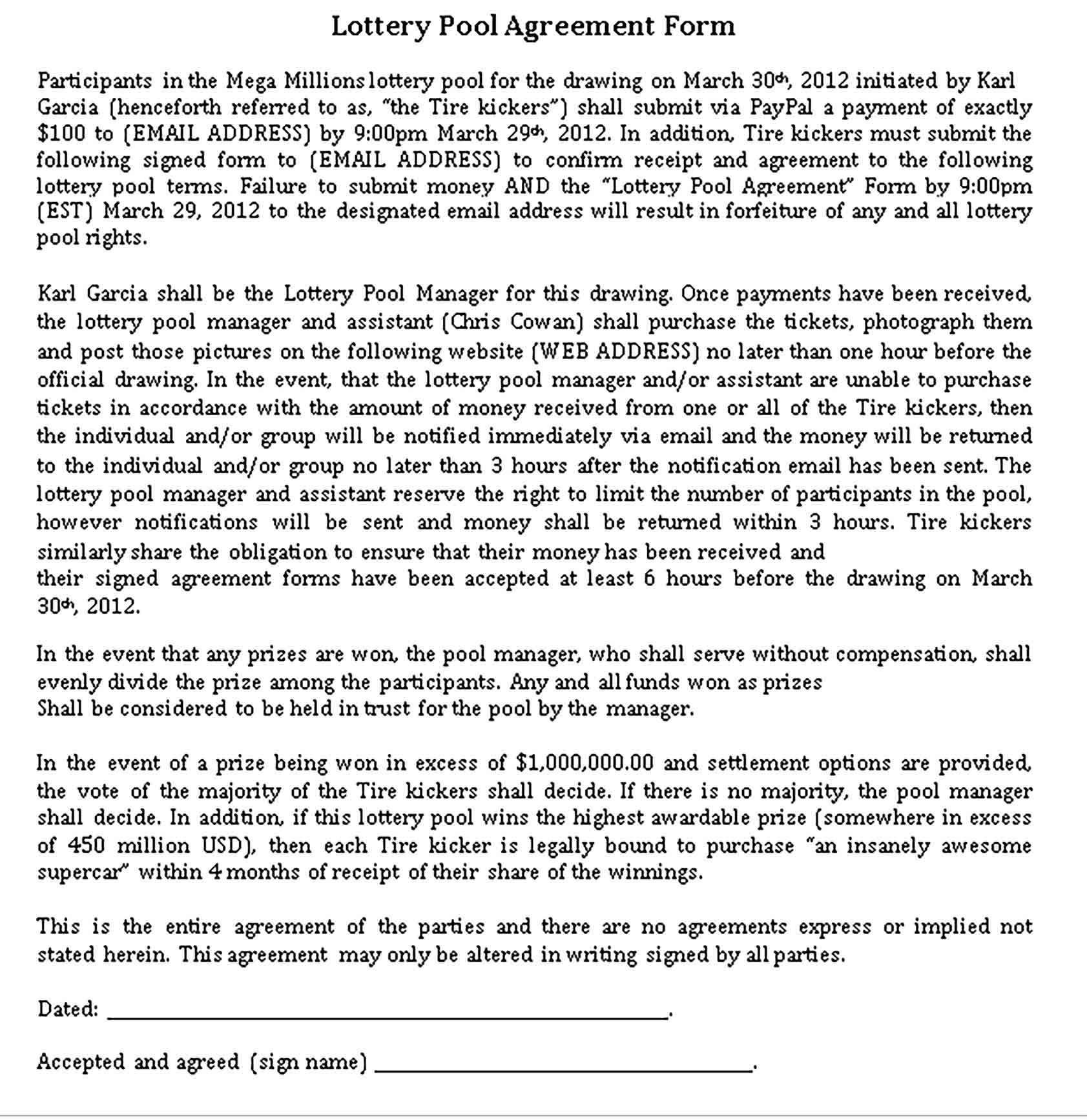 Templates General Lottery Pool Agreement Sample