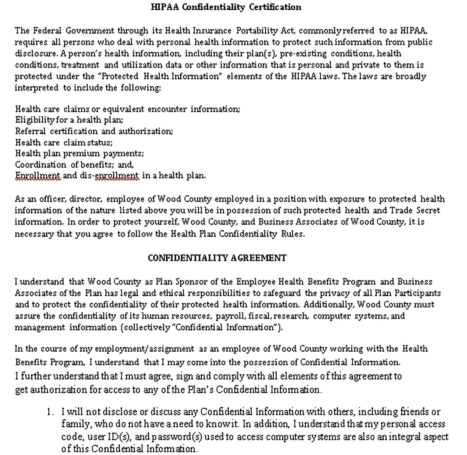Templates HIPAA Employee Confidentiality Statement Sample